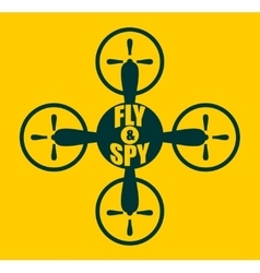 Drone quadrocopter icon Fly and spy text vector image