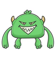 evil green goblin cartoon monster vector image