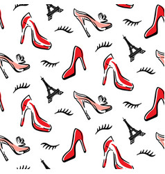 fashion seamless pattern background with red shoes vector image