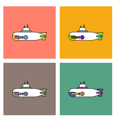Flat icon design collection military submarine vector