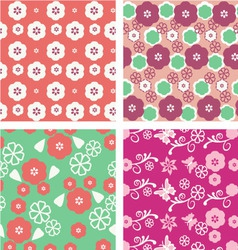 Floral pattern seamless blossom cherry vector