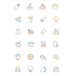 Food Colored Outline Icons 10 vector image