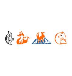 Fox unique logo design vector