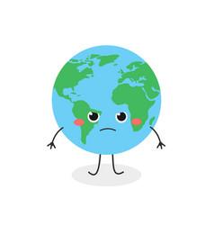 Funny angry cartoon earth character vector