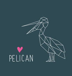 funny pelican in geometric style with lettering vector image