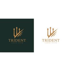 gold trident logo icon vector image