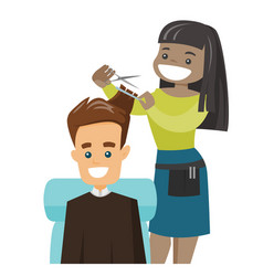 hairdresser making a haircut to a young man vector image