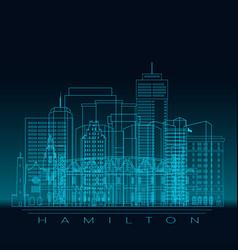 Hamilton skyline silhouette blue linear style vector