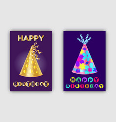 happy birthday banners glittering realistic hats vector image