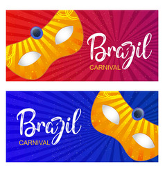 happy brazilian carnival day red and blue vector image