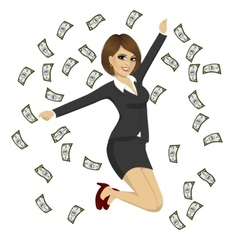 happy businesswoman jumping while dollar bills vector image