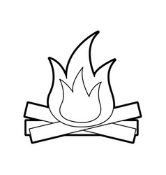 Hot and warm bonfire flame wooden vector