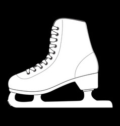 Ice skate outline white icon on black background vector