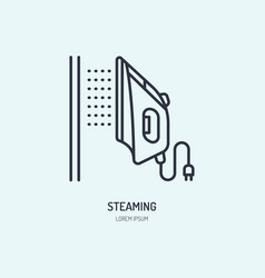 Iron steamer icon steaming service line flat sign vector