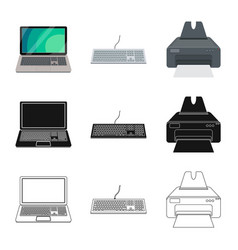 Isolated object of laptop and device symbol set vector