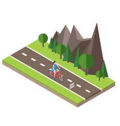 Isometric countryside summer road woman cycling vector