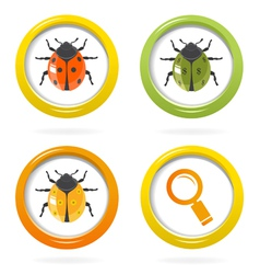 Ladybird glossy icon in colorful bubbles vector image vector image