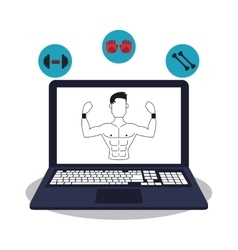 Laptop and healthy lifestyle design vector