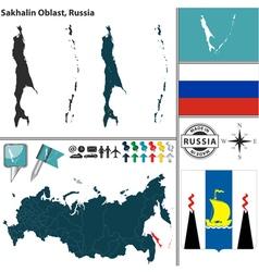 Map of Oblast of Sakhalin vector