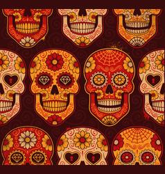 mexican calavera skulls seamless pattern vector image