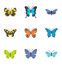 moth icons set flat style vector image