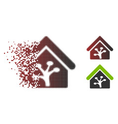 Moving pixel halftone plant glasshouse icon vector