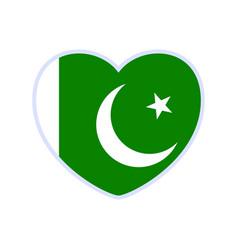 pakistan flag in a shape heart icon flat heart vector image