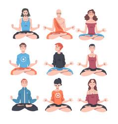 people characters meditating sitting cross-legged vector image