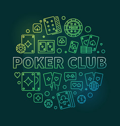 poker club concept linear round green vector image