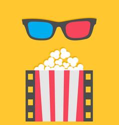 popcorn film strip line pop corn red white box 3d vector image