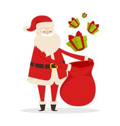 preparing christmas presents with santa claus vector image