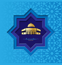 Ramadan square card with mosque vector