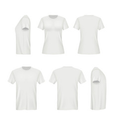 realistic shirts male and female blank clothes vector image