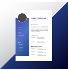 resume design template vector image