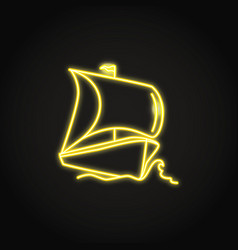 Sailing boat ship icon in glowing neon style vector