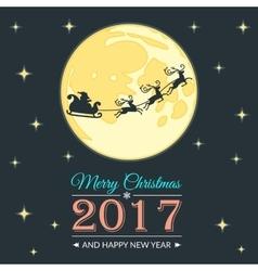 Santa and moon greeting card vector