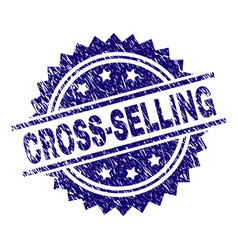 Scratched textured cross-selling stamp seal vector