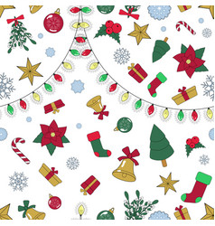 seamless lined christmas pattern vector image