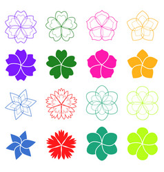 set flowers vector image