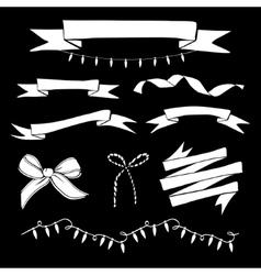 set hand drawn vintage ribbons and christmas vector image