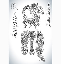 set with scorpio zodiac sign and mascot drawing vector image