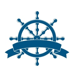Ship Wheel With Banner Nautical Emblem vector image