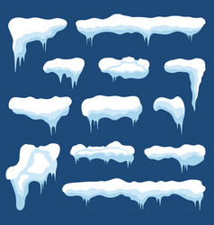 Snow with icicles and snow drifts winter snow vector