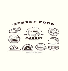 stock set fast food icons and elements vector image