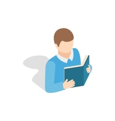 Student reading a book icon isometric 3d style vector image