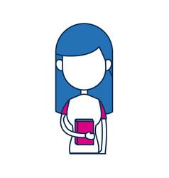 Teenager girl school people cartoon in blue and vector