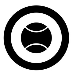 tennis ball icon black color in circle vector image