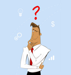 Thinking cartoon businessman vector