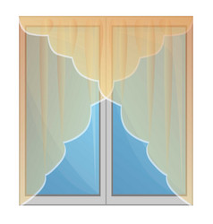 transparent window curtains icon cartoon style vector image