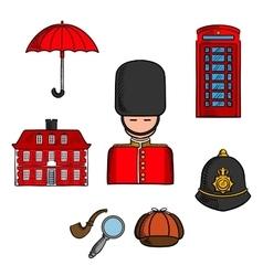 travel landmarks london colored sketch vector image